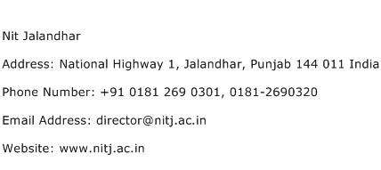 Search Contact Number By Address Nit Jalandhar Address Contact Number Of Nit Jalandhar