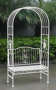 bentley white metal garden bench arch buydirect4u