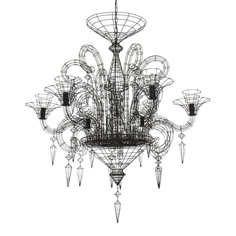 Wire Chandeliers Angelus Shadow Black Wire Chandelier