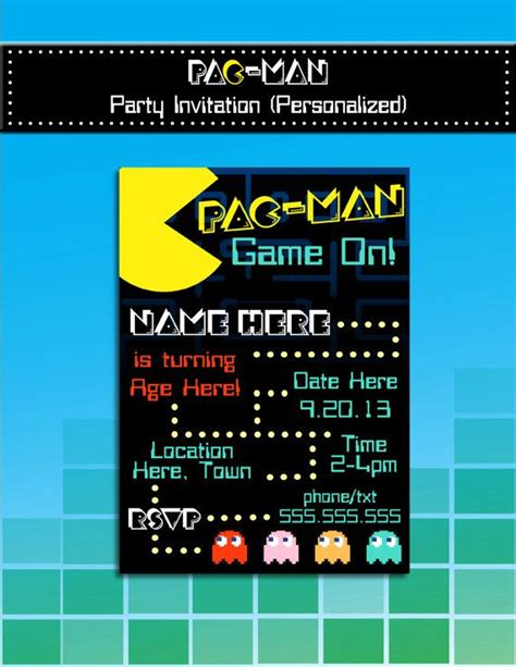 Pac Man Party Invitation Printable Personalized 80 S Party Theme Diy 5x7 Or 4x6 Mrs Pac Pac Birthday Invitation Template