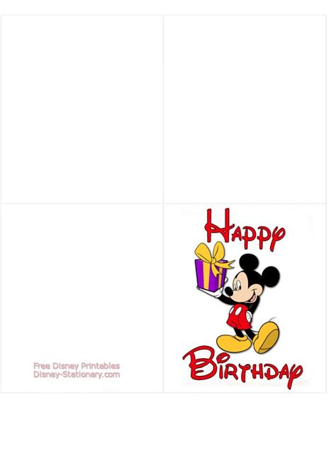 Mickey Mouse Card Template by Mickey Mouse Gt Printable Birthday Card Gt Disney Stationary