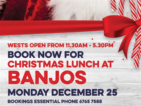 book now for christmas lunch at banjos wests tamworth