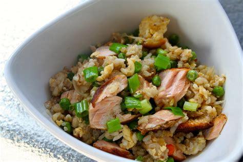 resep membuat nasi goreng vegetarian fried rice recipe with salmon arie s kitchen