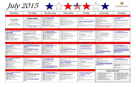 Calendar Home July 2015 Activity Calendar Pointe Retirement