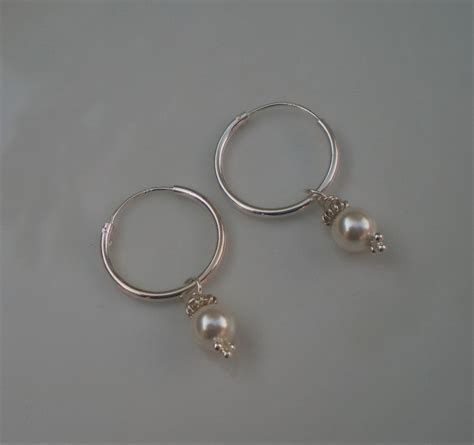 Handmade Sterling Silver Hoop Earrings - handmade sterling silver creole hoop earrings with white