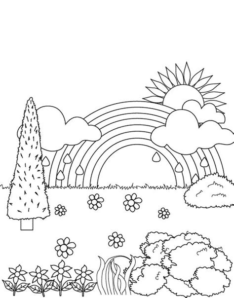 easy rainbow coloring page simple rainbow coloring sheets rainbow in the garden