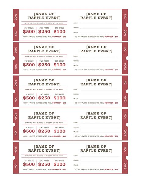 raffle tickets office templates