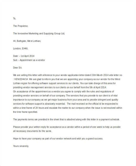 Management Representative Appointment Letter Sle by Appointment Letter Vendor 28 Images Appointment Letter