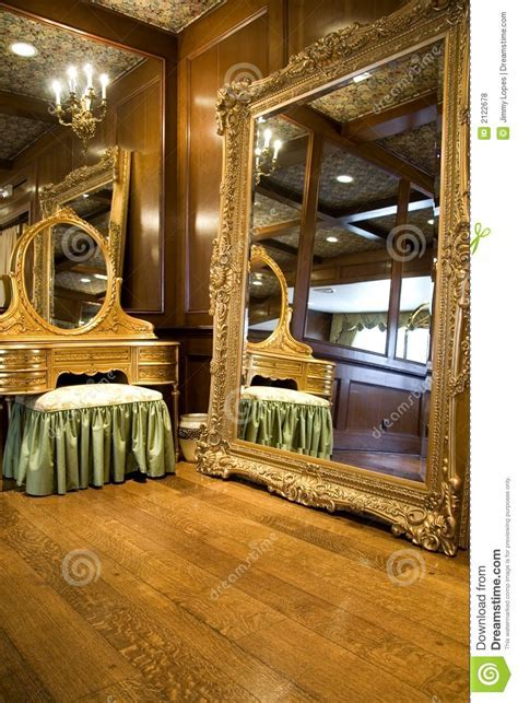 Antique Mirror and Dresser stock photo. Image of candles
