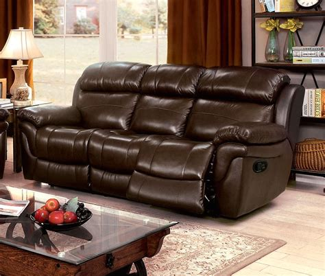 top grain leather reclining sofa tristin transitional brown top grain leather reclining