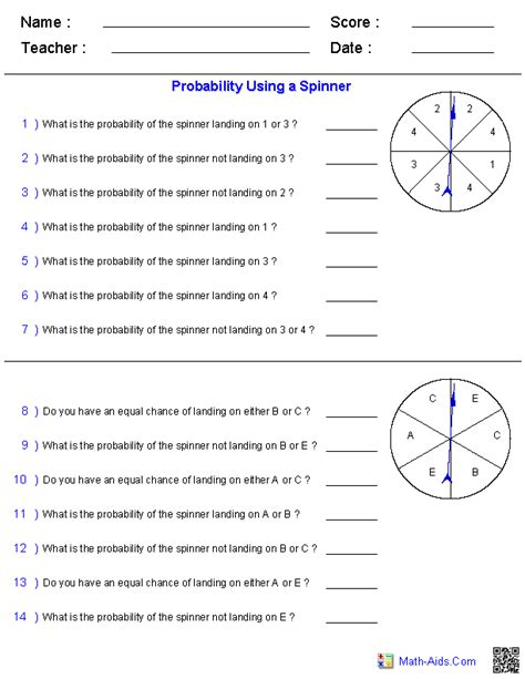 Probability Worksheets Using A Spinner Math Aids Com
