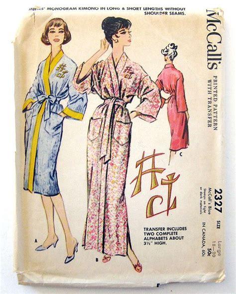 kimono pattern mccalls 1950s vintage kimono robe pattern with monogram embroider