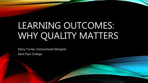 quality matters certification writing learning outcomes why quality matters