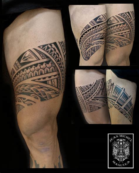 thigh band tattoo tatouage polynesien polynesian leg