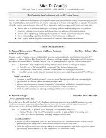 Sales Professional Resume Exles by Professional Sales Representative Resume