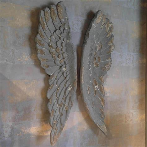 angel wings large antiqued grey  silver wall art