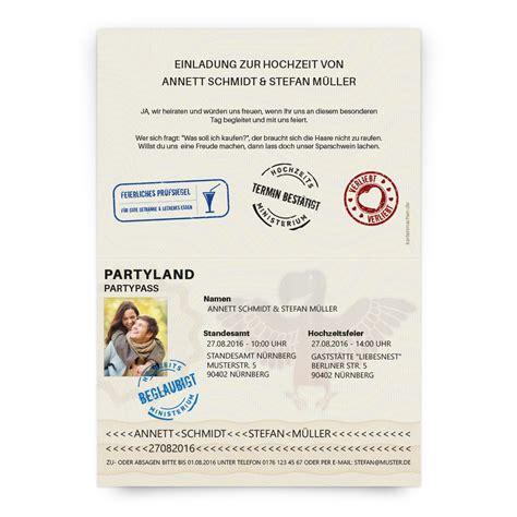 Hochzeitseinladung Passport by Hochzeitseinladungen Als Reisepass Ausweis Passport