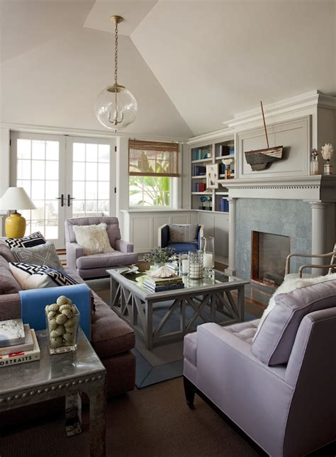 vaulted living room gray and lilac living room design