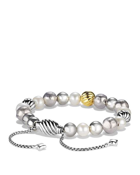 David Yurman Dy Elements Bracelet With Pearls And Gold in Silver (Silver/Yellow Gold)   Lyst