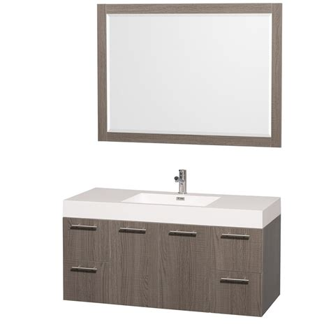 amare 48 quot wall mounted gray oak bathroom vanity set with