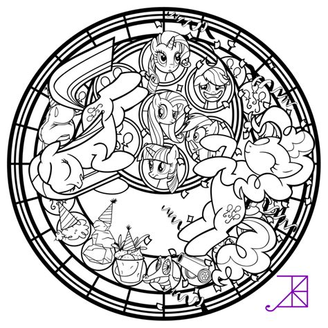 disney mandala coloring pages pinkie pinkamena stained glass line by akili