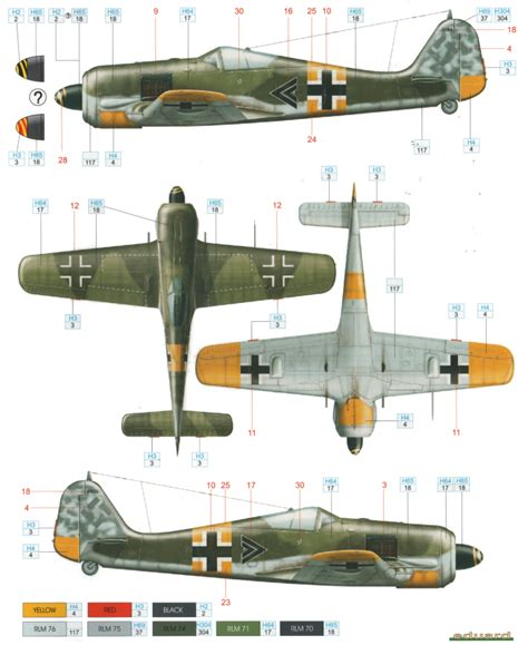 fw 190a 5 color profile and paint guide added focke wulf