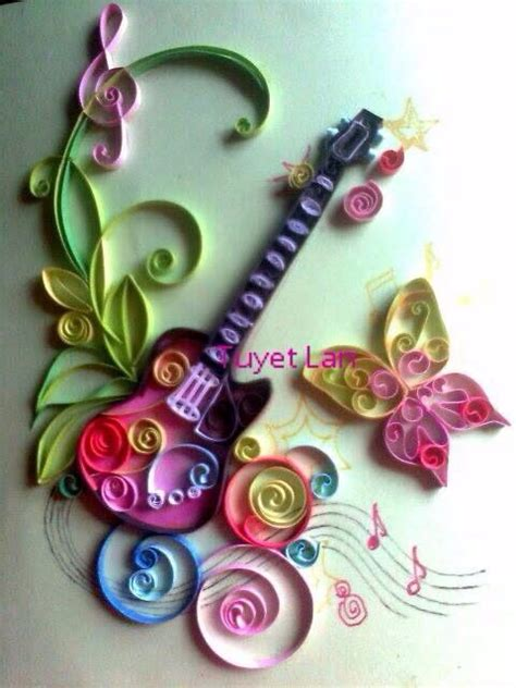 Paper Quilling Craft - quill guitar paper quilling craft