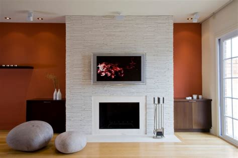 modern fireplace design ideas white wall wood flooring
