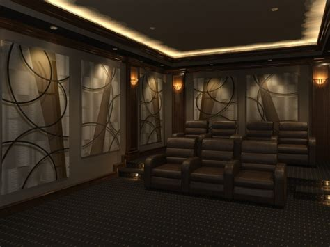 home theater design featuring angled curves decorative