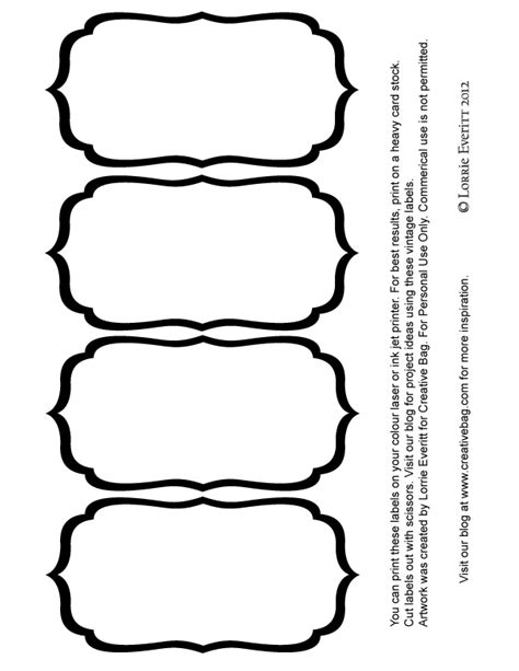 black and white label templates the creative bag sweet tables glass containers and more free labels