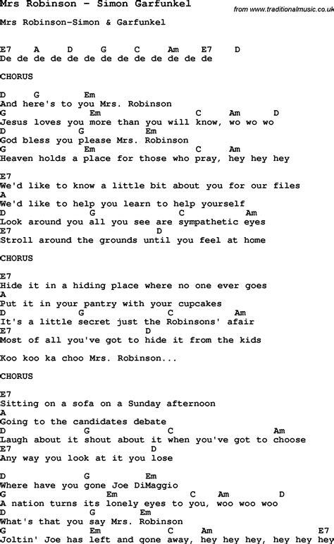 guitar tutorial mrs robinson song mrs robinson by simon garfunkel with lyrics for