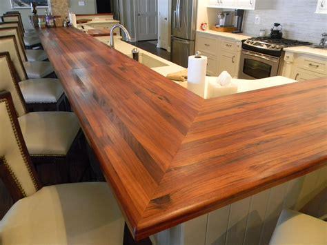 Wood Countertop tigerwood edge grain raised bar southside woodshop