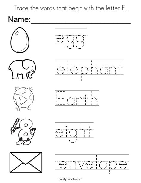 words that start with bed trace the words that begin with the letter e coloring page