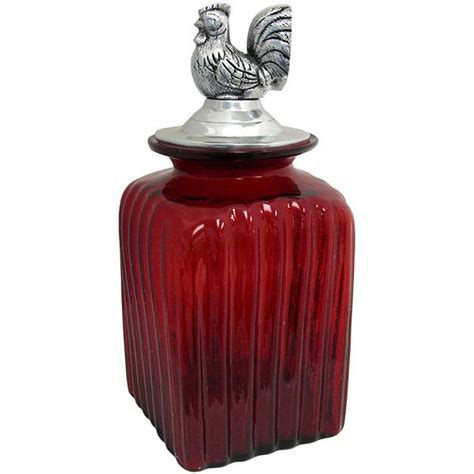 red glass kitchen canisters blown glass canisters collection rooster kitchen canister gkc001