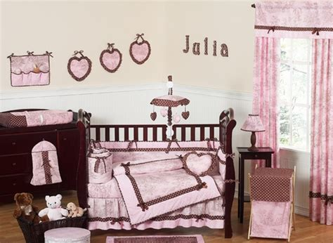 Pink And Brown French Toile And Polka Dot Baby Bedding 9 Pink And Brown Polka Dot Crib Bedding