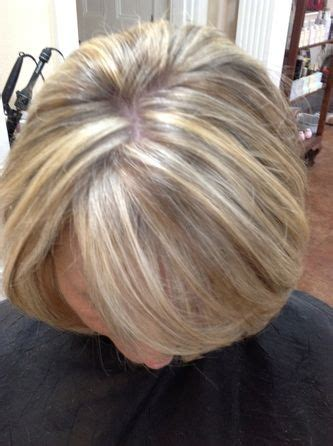 ash blonde to blend grey auburn base color with golden copper highlights service