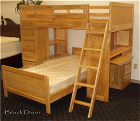 Wood Bunk Bed With Desk Solid Wood Bunk Bed Loft W Bookcase Desk Dresser Loads Of Storage