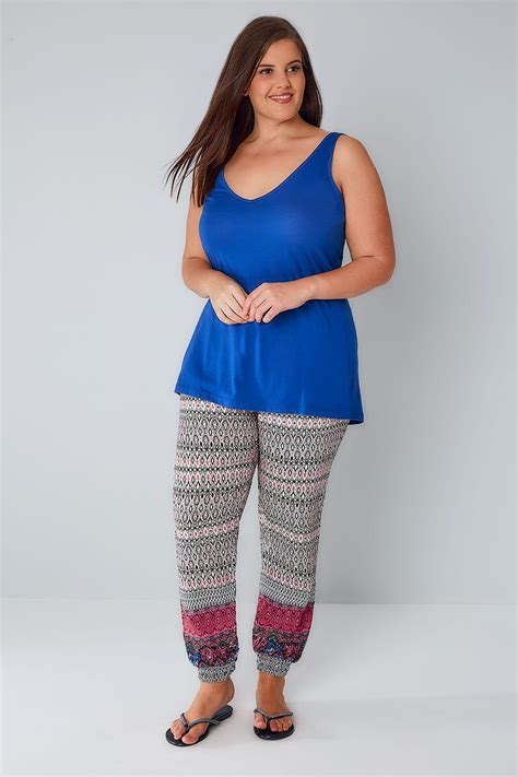 Point Blank Gift Card Balance - nude multi aztec print harem trousers with elasticated waist cuffs plus size 16 to 36