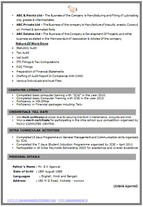 Resume Format Doc For B 10000 Cv And Resume Sles With Free