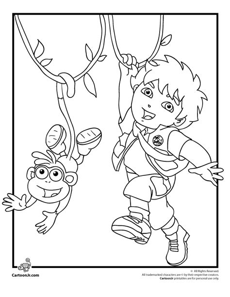 dora and diego coloring page dora the explorer coloring pages diego and boots coloring