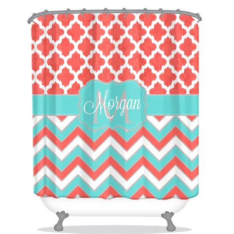 personalized shower curtain quatrefoil personalized shower curtain chevron