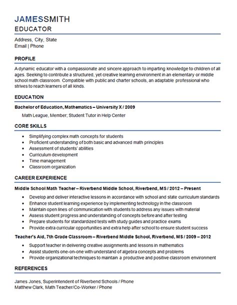 middle school teacher resume exle mathematics