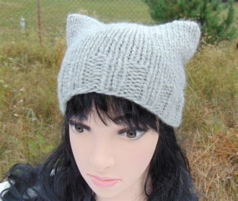 knit hat with cat ears cat ears hat cat ear beanie knited square cat hat knit hat
