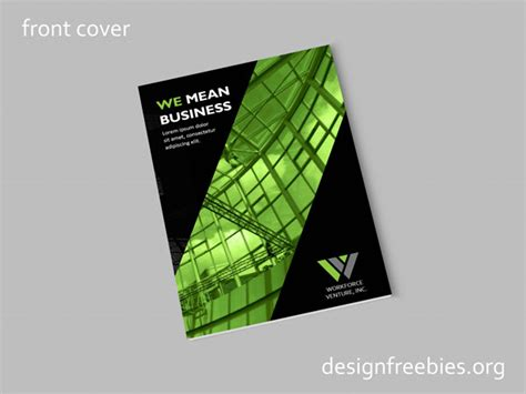 cover and profile template free black and green company profile indesign template