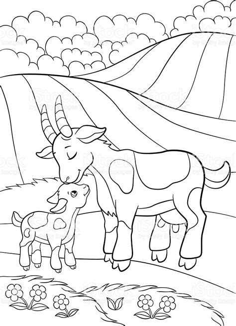 coloring pages farm animals and their babies coloring pages farm animals goat with