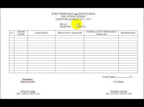 format buku kerja guru contoh format buku bimbingan dan penyuluhan quality