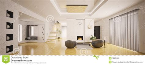 Living Room Curtain Ideas Modern interior of modern apartment panorama 3d render stock