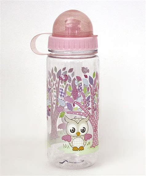 Tri Owl baby pink woodland owl 16 oz mini water bottle bottle minis and pink