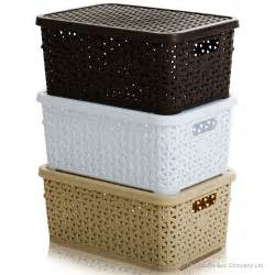bathroom storage boxes buy small rattan style plastic baskets with lids white