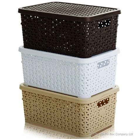 bathroom storage boxes with lids buy small rattan style plastic baskets with lids white cream and brown